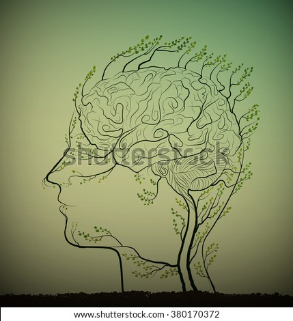 man brain looks like tree with green branches, herbal medicine against brain disease,  plant icon concept, update marrow cells concept, - stock vector