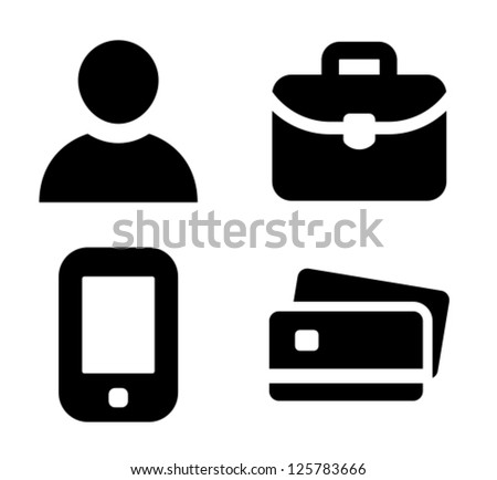 Man, briefcase, mobile phone and credit card vector icons - stock vector