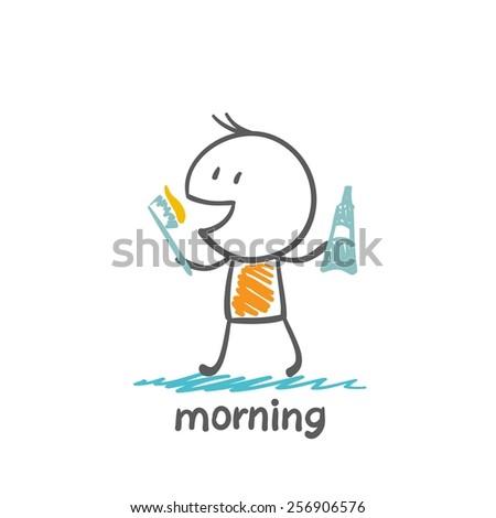 man brushing his teeth in the morning illustration - stock vector