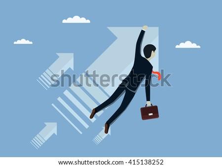 Man businessman flies forward. Moving forward to success. Vector illustration. - stock vector