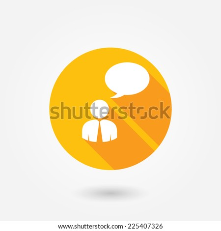Man, businessman , person with a blank speech bubble. Flat style design with long shadow - stock vector