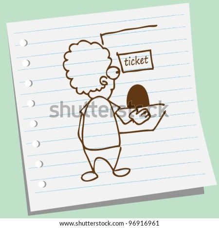 man buy tickets at the counter doodle illustration - stock vector