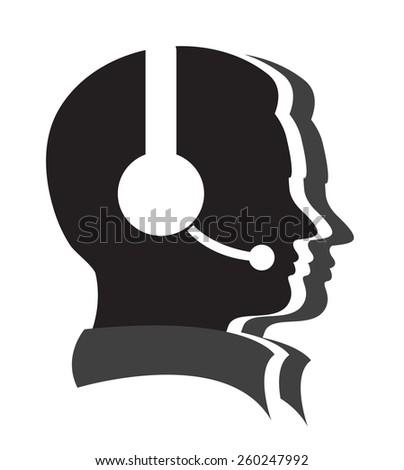 man call center vector icon - stock vector