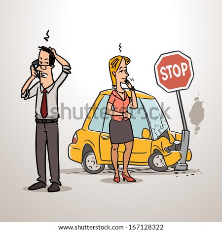 man calling insurance after car accident - stock vector