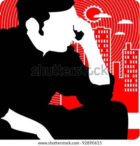 man calls on phone and building city landscape vector - stock vector