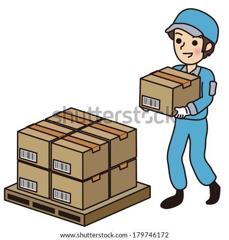 Man carrying a cardboard box - stock vector