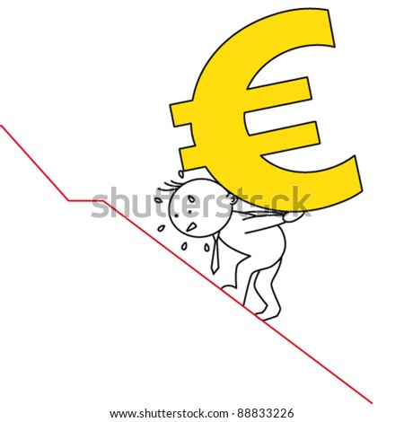 man carrying a steep euro. - stock vector
