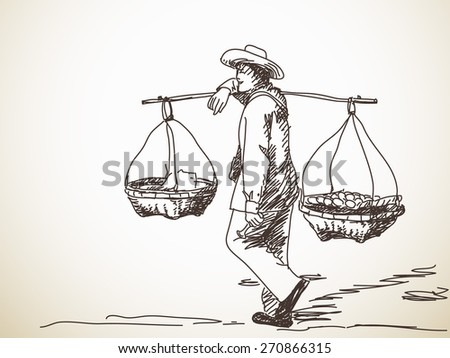 man carrying yoke on his shoulder stock vector 270866315
