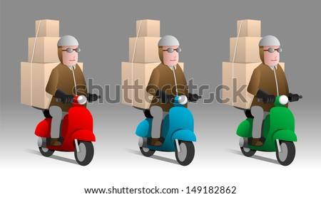 Man carrying boxes on scooters in three color options, cartoon illustration - stock vector