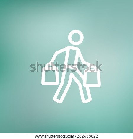 Man carrying shopping bags icon thin line for web and mobile, modern minimalistic flat design. Vector white icon on gradient mesh background. - stock vector