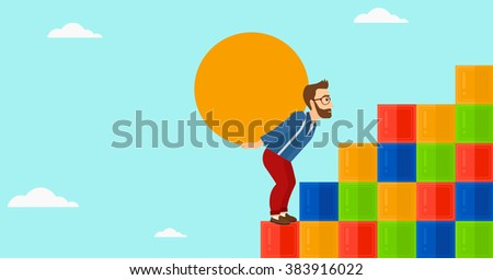 Man carrying stone. - stock vector