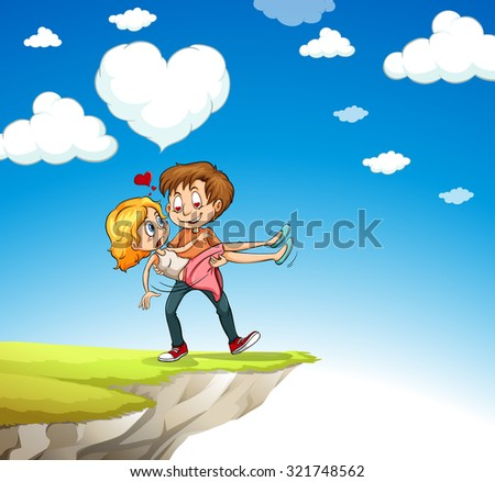 Man carrying woman on the cliff illustration - stock vector