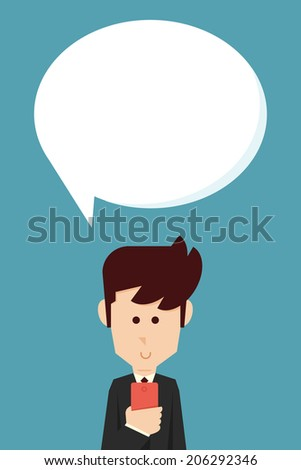 Man chatting on mobile  - stock vector