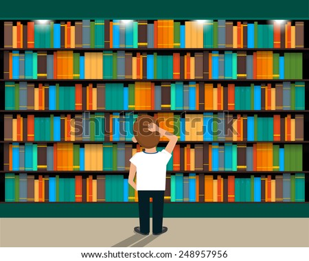 Man chooses a book in the library - stock vector