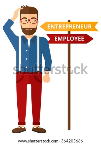 Man choosing career way. - stock vector