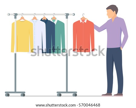 man choosing shirt near rack clothes stock vector royalty free