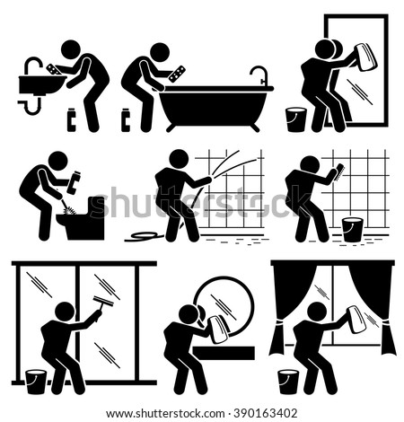 Man Cleaning Bathroom Toilet Windows and Mirror - stock vector