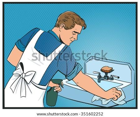 man cleans sink pop art vector comics - stock vector