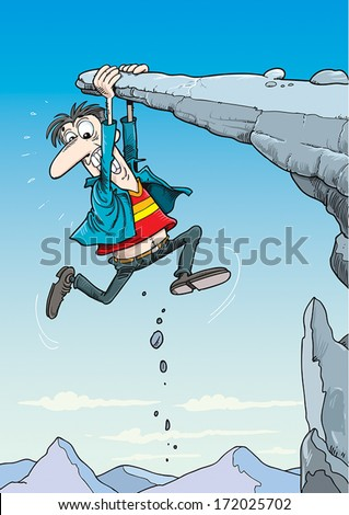 Man clinging on to the edge of a cliff. - stock vector
