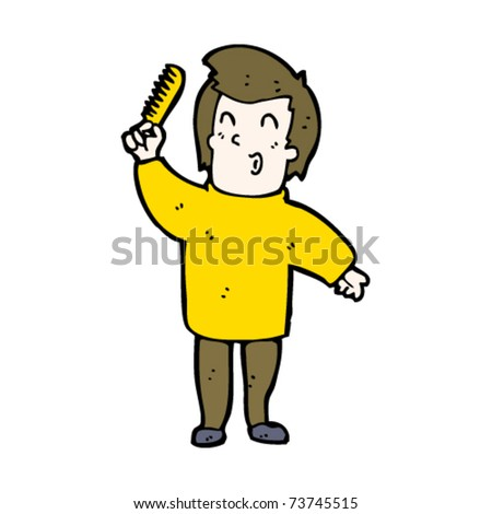 Boy brushing hair clipart