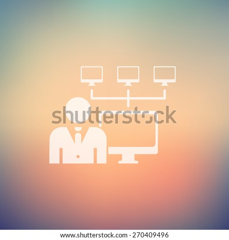 Man, computer with camera icon in flat style for web and mobile, modern minimalistic flat design. Vector white icon on gradient, mesh background - stock vector