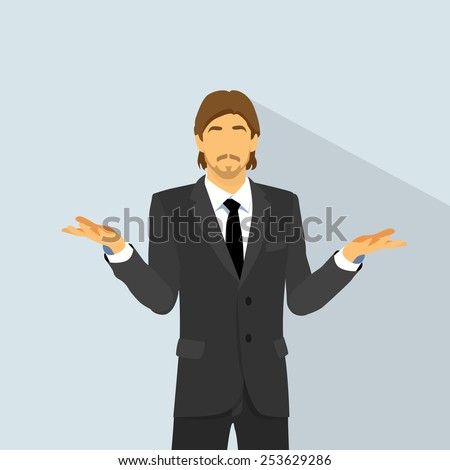 man confused expression hold palm up question, unexpected hand gesture of no ideas, Doubtful businessman flat vector illustration - stock vector