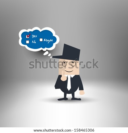 Man confused with the answer options - stock vector