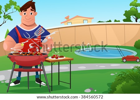 Man cooking BBQ in the backyard, vector illustration.