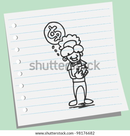 man counting money doodle illustration - stock vector