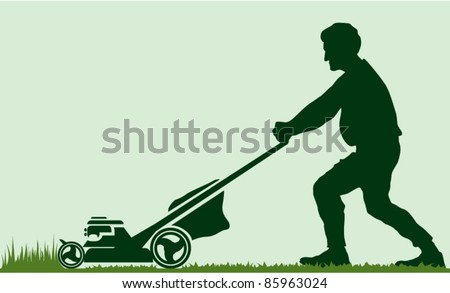 Man cutting grass with lawn mover - stock vector