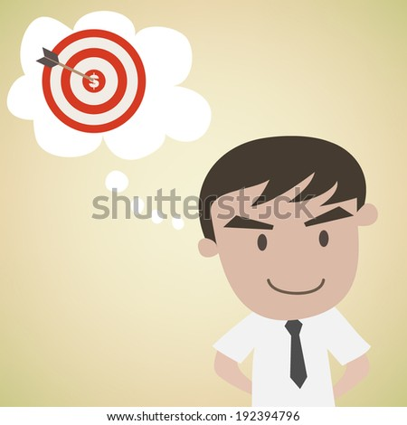 Man day dreaming target  vector - stock vector