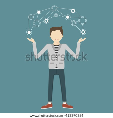 Man demonstrates new technology concept. Vector illustration flat style - stock vector