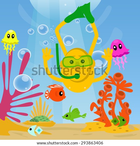 Man diving under sea and swimming with fishes. - stock vector
