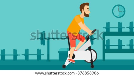 Man doing cycling exercise. - stock vector