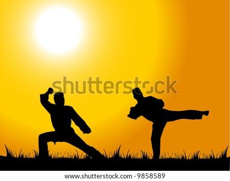 Man doing martial arts in park (K) - stock vector