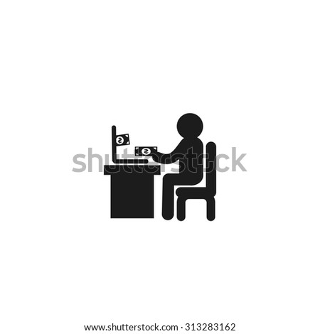 Man doing online shopping Icon. Black Business Pictogram. vector illustration - stock vector