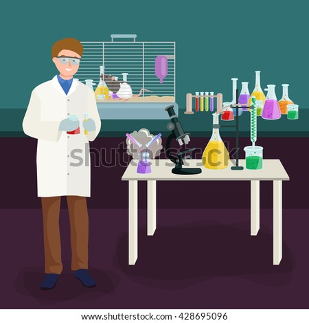 Man doing test in science laboratory, chemistry equipment  lab research concept, chemical tube and medicine liquid glass in medical experiment.Scientific laboratory,pharmacy technology test equipment  - stock vector