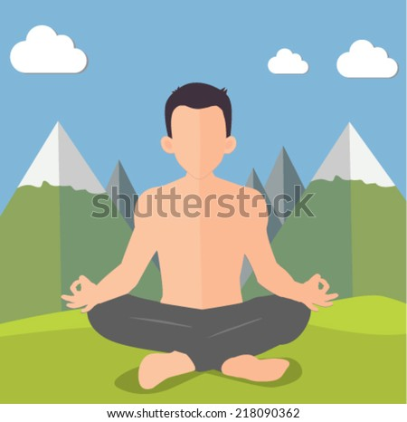 man doing yoga in the mountains - flat design vector  - stock vector