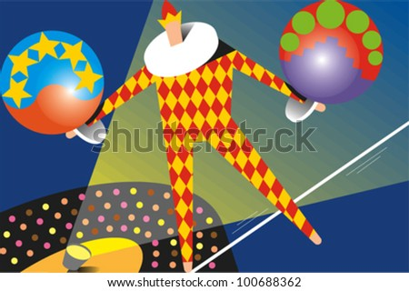 Man dressed in a harlequin/clown suit balances on a tightrope while balancing two large balls above a crowded audience and spotlight - stock vector