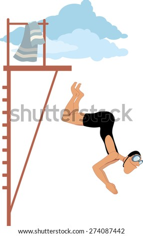 Man dressed in an old-fashioned swimming suit jumping from the diving platform, vector cartoon, no transparencies, EPS 8