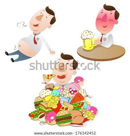 man eating,drinking and eat very full - stock vector