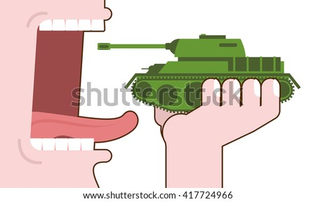 Man eating tank. Destruction of military transport. Open mouth with tongue and teeth. Consumption of armored fighting vehicle. Liquidation of military equipment - stock vector