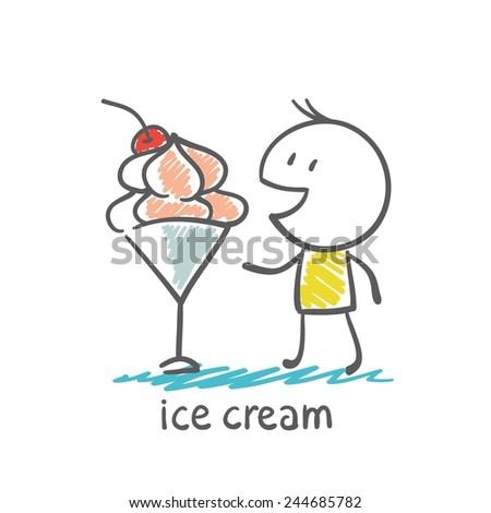 man eats ice cream illustration - stock vector
