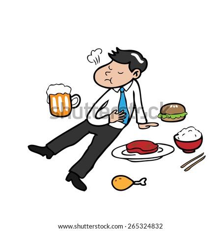 Man eats too much cartoon character vector - stock vector