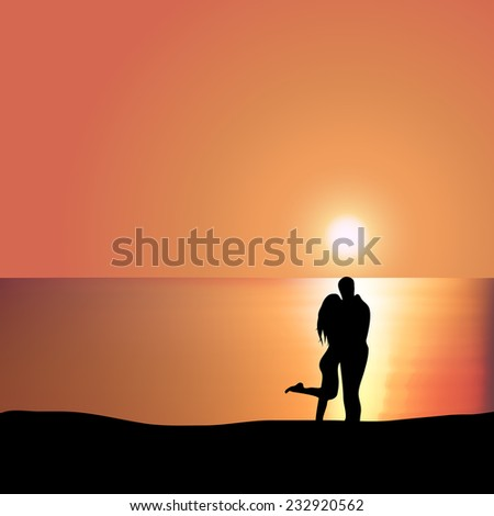 Man embraces woman on the seashore at sunset - stock vector