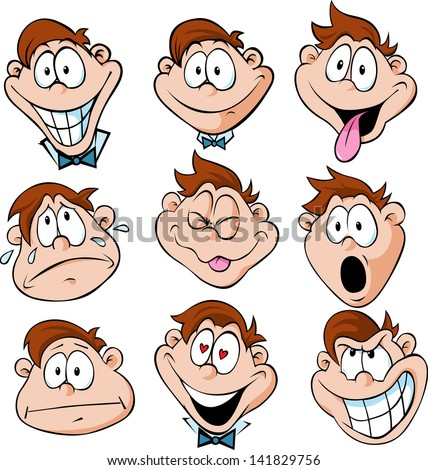 man emotions  - illustration of man with many facial expressions - stock vector