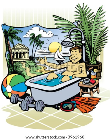 Man enjoys the bath in the bathtub. - stock vector