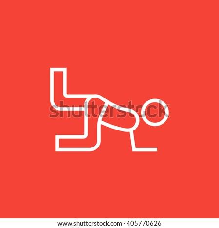 Man exercising buttocks line icon. - stock vector