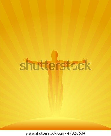 Man expressing glory, with sunrise striped background. Vector illustration.