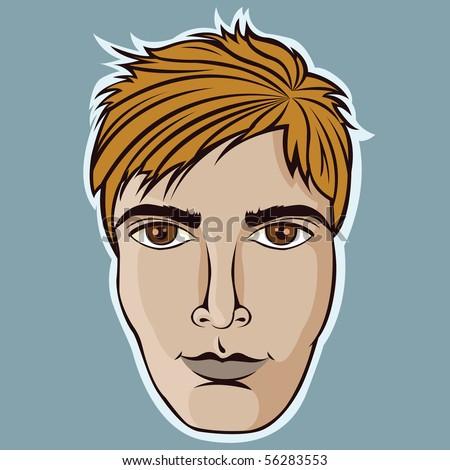 Man face cartoon illustration - stock vector